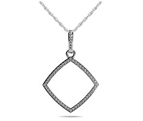 Single Row Square Diamond Pendant
