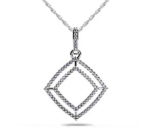 Double Row Square Diamond Pendant