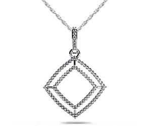 Double Row Square Diamond Pendant