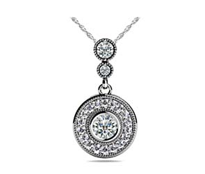 Bezel Diamond Two Stone Halo Bail Pendant