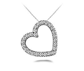 Slanted Circle of Life Heart Diamond Pendant