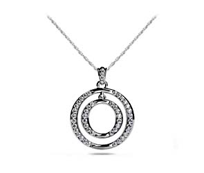 Dual Circle Diamond Accented Diamond Pendant