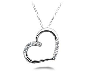 Slanted Diamond Accent Heart Pendant