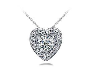 Diamond Heart Hover Halo Pendant