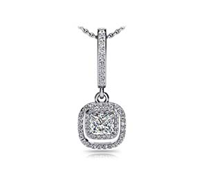 Cushion Drop Double Halo Diamond Pendant