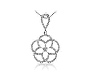 Diamond Flower Loop Pendant