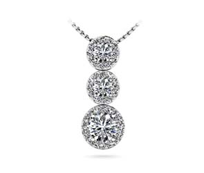 Graduated Three Stone Drop Halo Diamond Pendant