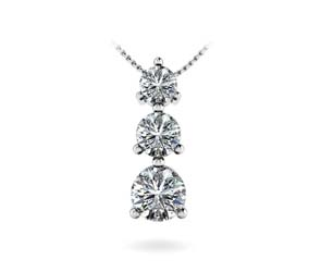 Traditional 3 Stone Diamond Pendant