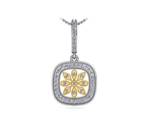 Floral Miligrain Diamond Pendant