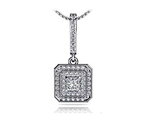Sculptural Graduated Double Halo Diamond Pendant