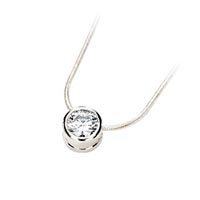 Diamond Solitaire Bezel Pendant 1/3 Carat Total Weight