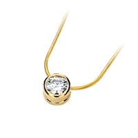 Diamond Solitaire Bezel Pendant 1/4 Carat Total Weight