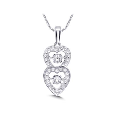 Double Heart Moving Damond Pendant 1/4 Carat Total Weight