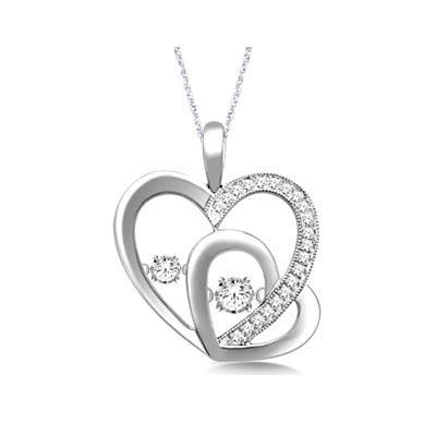 Two hearts moving diamonds pendant 28919w usa jewels two hearts moving diamonds pendant 14 carat total weight aloadofball Image collections