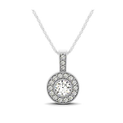 Drop Diamond Bezel Halo Pendant 1/3 Carat Total Weight