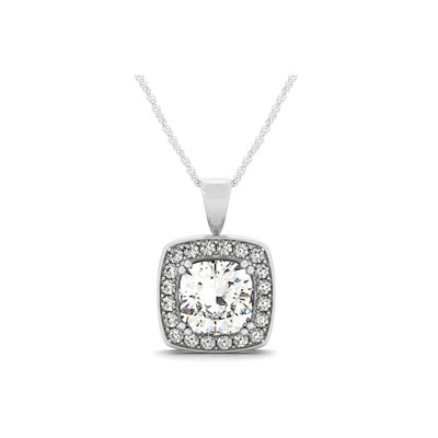 Hanging Diamond Cushion Halo Pendant 0.66 Carat Total Weight