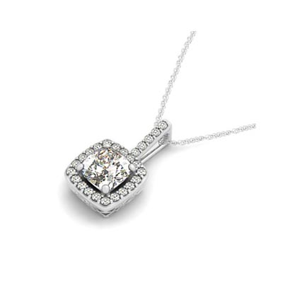 Drop Four Prong Halo Cushion Diamond Pendant 1.0 Carat Total Weight