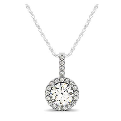 Diamond Ring Accented Halo Pendant 3/8 Carat Total Weight