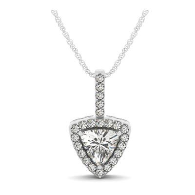Trillion cut diamond halo pendant 31487 usa jewels diamond halo pendant aloadofball Gallery