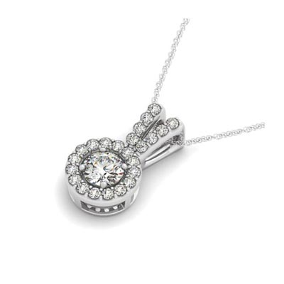 Double Diamond Lined Bail Halo Pendant 3/4 Carat Total Weight