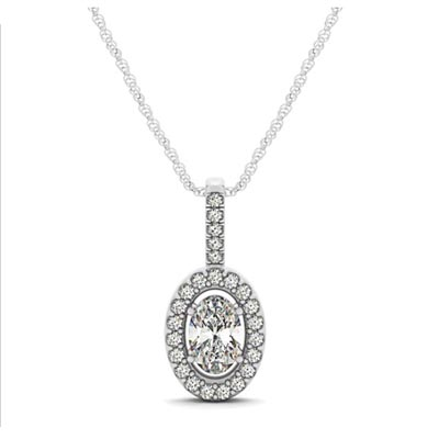 Oval Cut Diamond Halo Pendant 1/3 Carat Total Weight