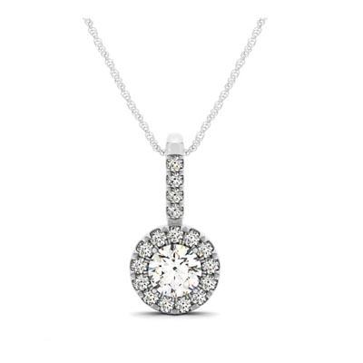 Diamond round circle halo pendant 15 carat total weight usa jewels diamond halo pendant mozeypictures Gallery