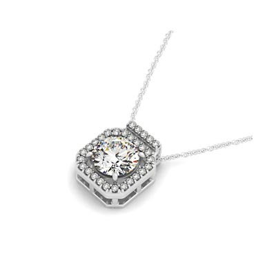 Diamond Row Halo Button Pendant 1/3 Carat Total Weight