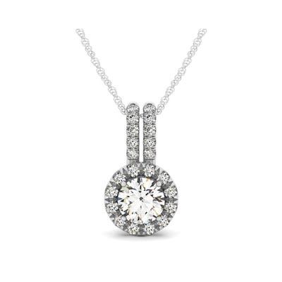 Double diamond lined bail round halo pendant 32311 usa jewels diamond halo pendant aloadofball Choice Image