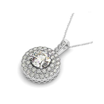 Double Halo Drop Style Pendant 2.3 Carat Total Weight