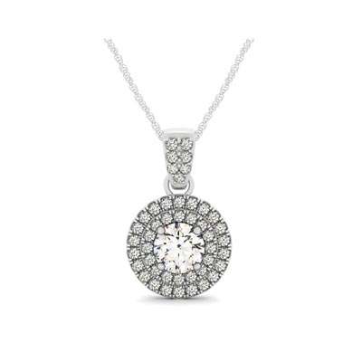 Double Halo Double Diamond Row Bail Pendant 1/2 Carat Total Weight
