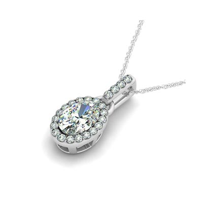 Link Style Oval Diamond Single Halo Pendant 3/8 Carat Total Weight