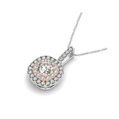 Two Tone Double Halo Cushions Drop Style Pendant 1/3 Carat Total Weight