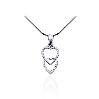 Dual Hearts Diamond Heart Pendant 1/10 Carat Total Weight 1/10 Carat Total Weight