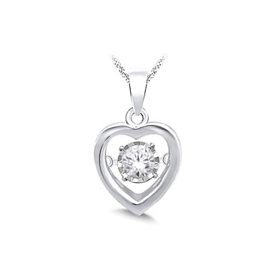 Moving Diamond Heart Pendant 1/5 Carat Total Weight