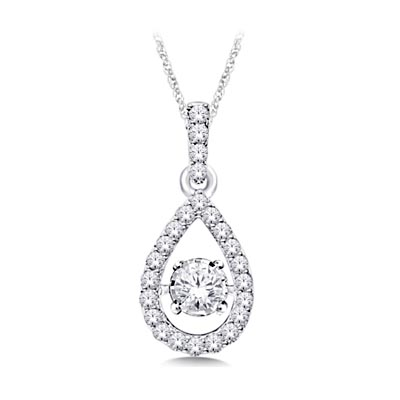 Moving Diamond Hanging Fashion Pendant 1/4 Carat Total Weight