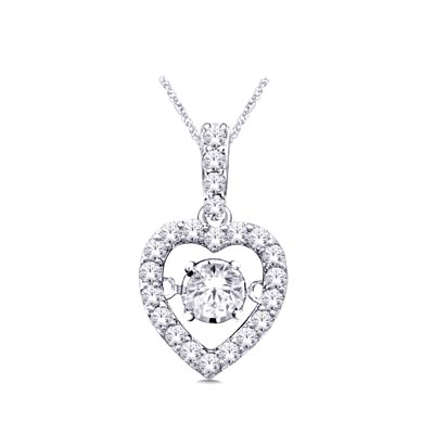 Moving Diamond Heart Pendant 1/4 Carat Total Weight