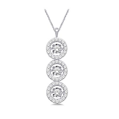3 Stone Moving Diamond Fashion Pendant 1.0 Carat Total Weight