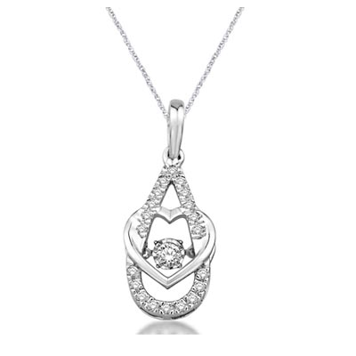 Moving Diamond Heart Centered Pendant 1/3 Carat Total Weight