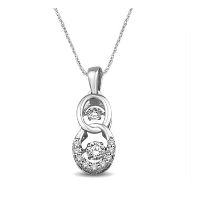 2 Stone Moving Diamonds Pendant 3/8 Carat Total Weight