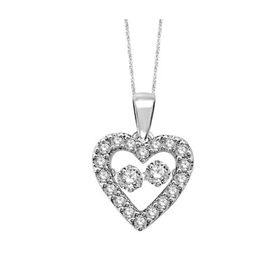 2 Stone Moving Diamond Heart Pendant 1/2 Carat Total Weight