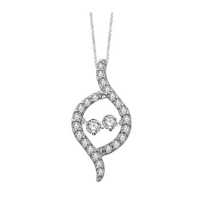 2 Stone Moving Diamonds Fashion Pendant 1/2 Carat Total Weight