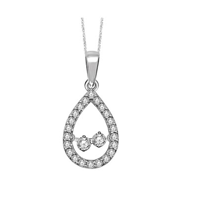 Two Stone Moving Diamond Pendant 1/2 Carat Total Weight
