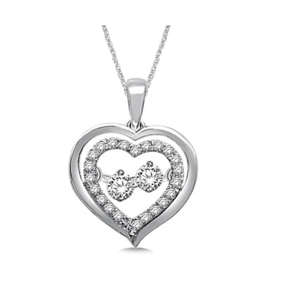 Moving Diamond Heart Pendant 1/3 Carat Total Weight