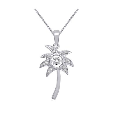 Moving Diamond Palm Tree Fashion Pendant 1/10 Carat Total Weight