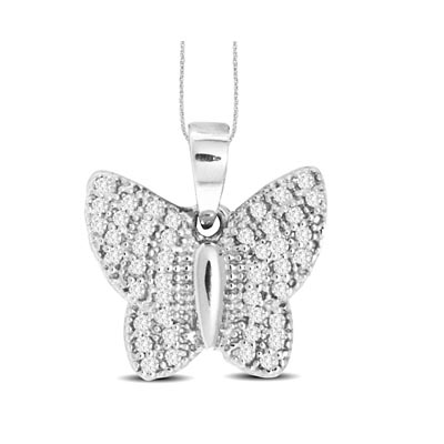 Diamond Fashion Butterfly Pendant 1/5 Carat Total Weight