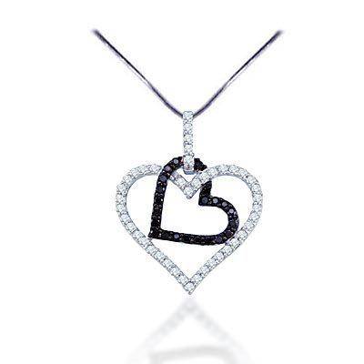 Hanging Hearts Diamond Pendant 1/2 Carat Total Weight 0.52 Carat Total Weight