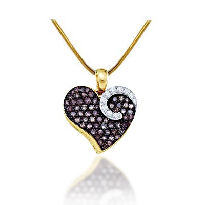 Ladies Heart Champagne Diamond Pendant 3/4 Carat Total Weight 3/4 Carat Total Weight