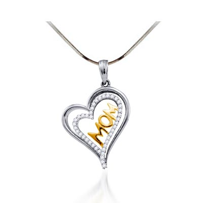 Moms Diamond Heart Pendant 1/5 Carat Total Weight 0.21 Carat Total Weight