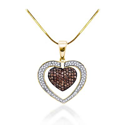 Champagne Diamond Heart Pendant 1.06 Carat Total Weight