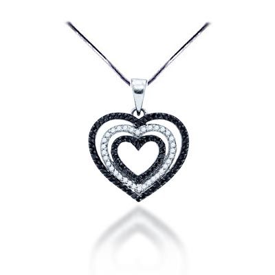 Black diamond heart pendant 69 ctw 76816 usa jewels black diamond heart pendant 69 carat total weight 069 carat total weight aloadofball Images
